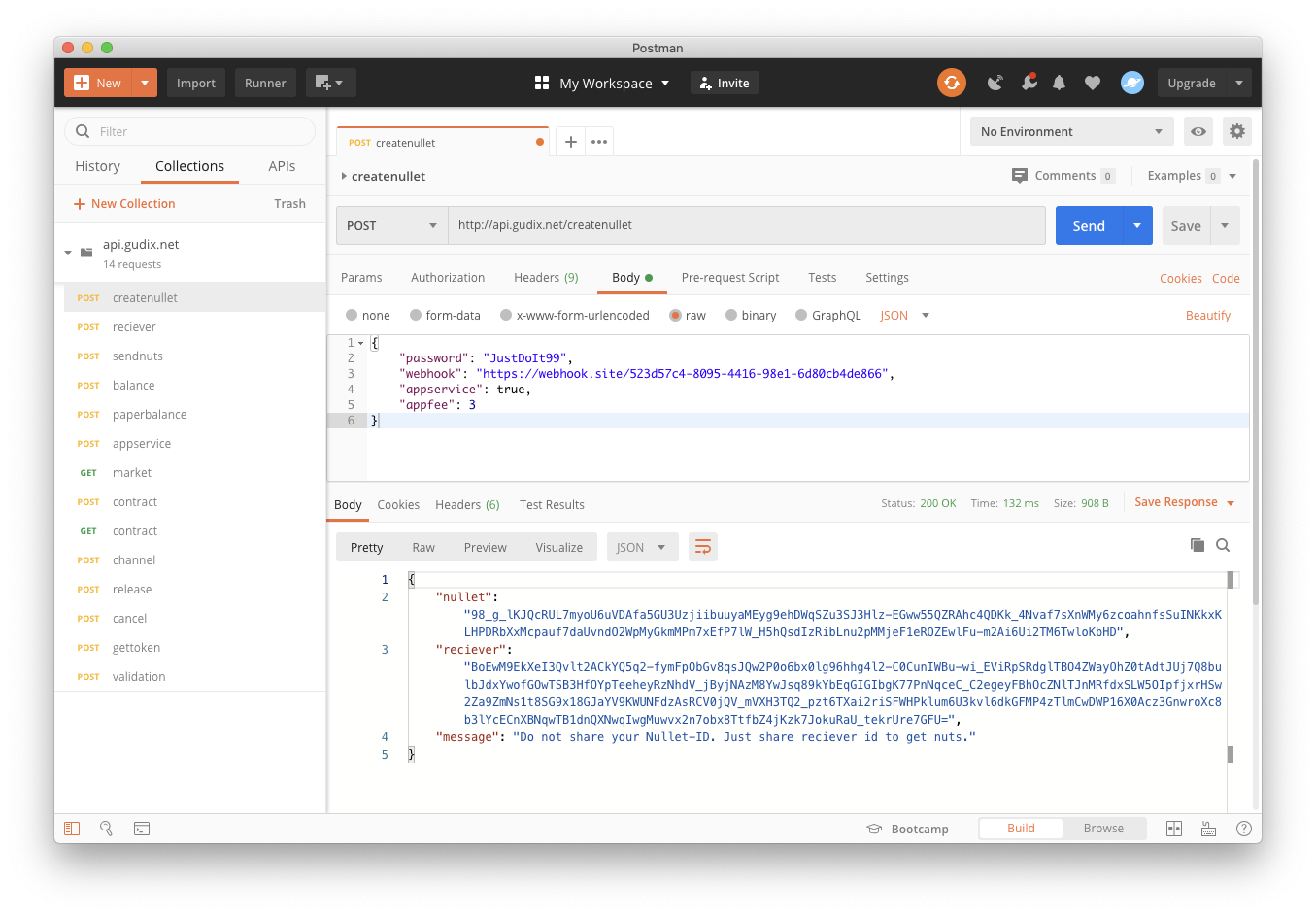 Test the Gudix Network trough Postman Interface